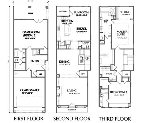 townhouse floor plans three bedroom townhouse floor plans