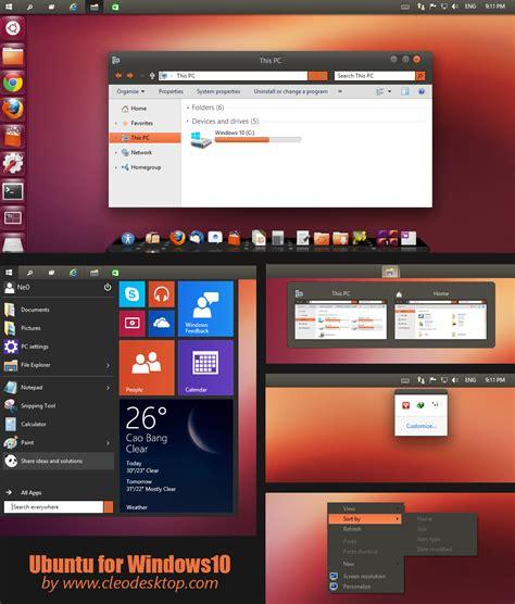 ubuntu dark theme for windows 10 rtm ubuntu theme windows 10 technical preview by cleodesktop