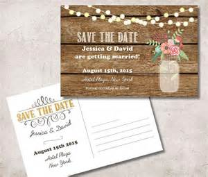 save the date postcard printable rustic save the date