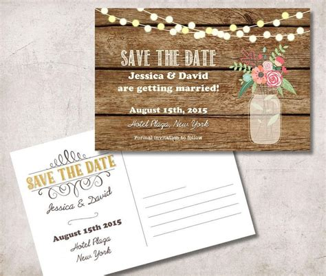 Postcard Style Save The Dates save the date postcard printable rustic save the date
