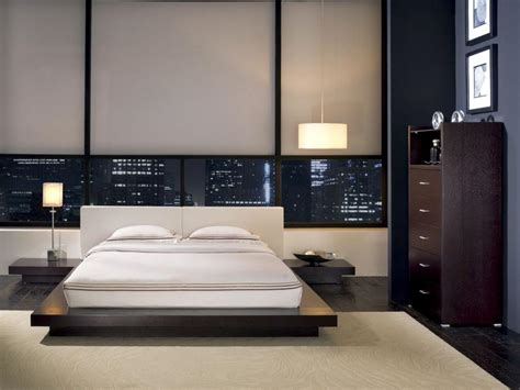 modern style wooden leather platform bed design