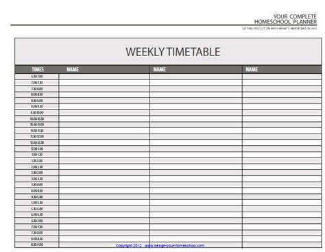 homeschool planner template homeschool planner a daily timetable template more