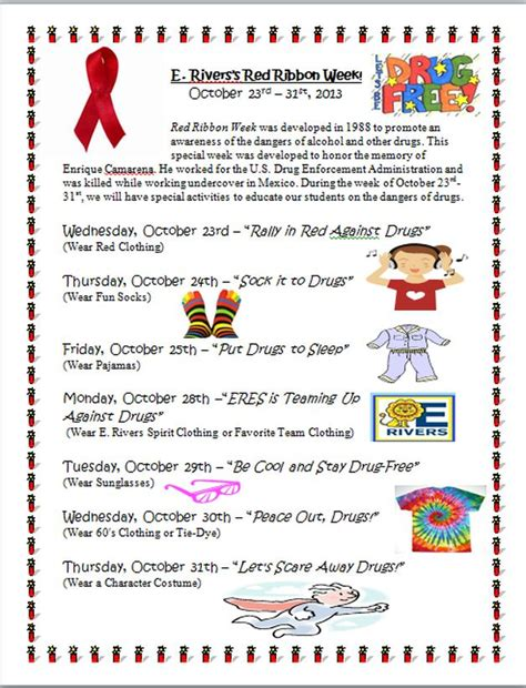 Red Ribbon Week Flyer Includes Rationale Dress Up Spirit Attire And Themes School Free Spirit Week Flyer Template