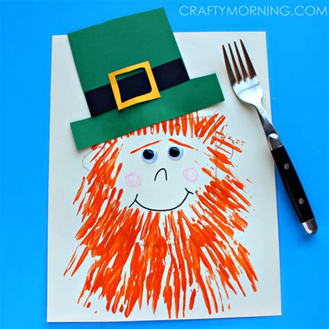 leprechaun pattern for kindergarten fork painted leprechaun fun family crafts