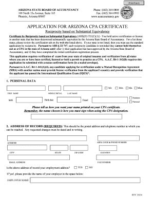 sle of dd214 application for arizona cpa certificate fill