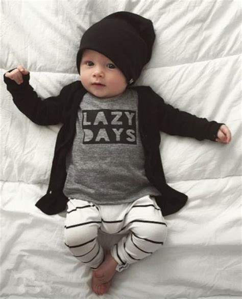 Longtee Boy Ekidz 6 2018 autumn fashion newborn baby boy clothes cotton sleeve letter lazy days t shirt 2