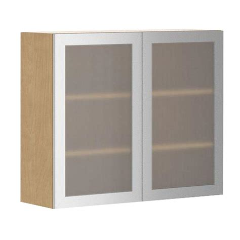 Kitchen Wall Cabinets With Glass Doors Eurostyle Ready To Assemble 36x30x12 5 In Copenhagen Wall Cabinet In Maple Melamine And Glass