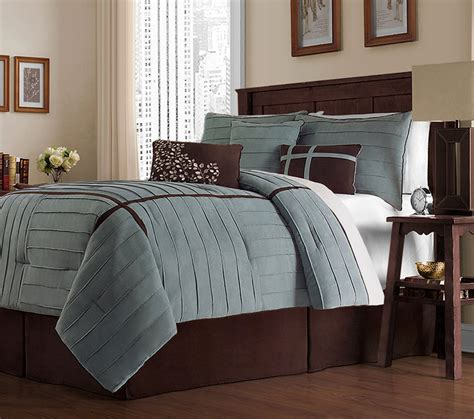 Blue Brown Bedding Sets Classics Ellington 7 Comforter Set King Blue Home Kitchen Home