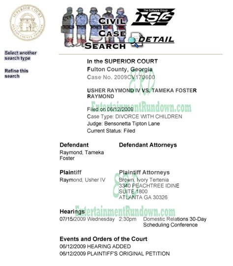 Fulton County Superior Court Records Search It S Official Usher Files For Divorce Entertainment Rundown