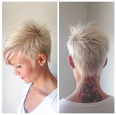 women hairstyles 2015 shorter or sides and longer in back short platinum blonde boy cut with side swept bangs for