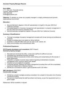 Sle Resume Restaurant Assistant Manager Assistant Property Manager Resume Sle 25 Images