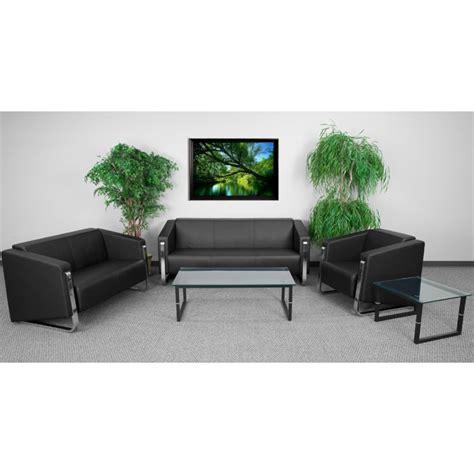 Reception Sofa Set by 3 Leather Reception Sofa Set In Black Zb 8803 Set
