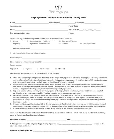 liability waiver form 11 free pdf documents download