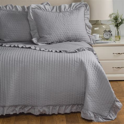 Blue Quilted Pillow Shams fleur de lis blue circle dot ruffled quilted pillow shams