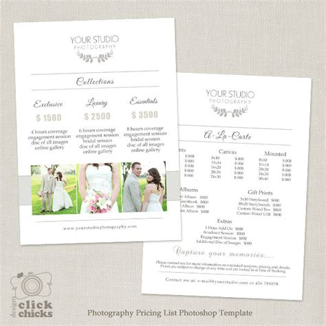 photography list template wedding photography pricing list template photography
