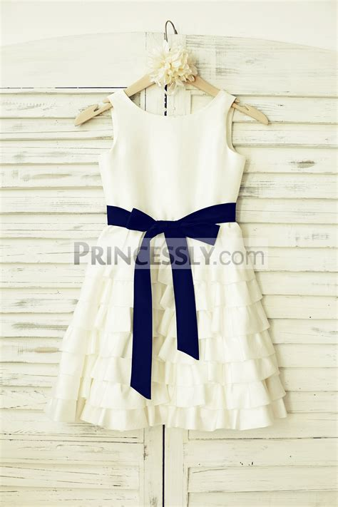 Dress Navy Flower With Belt ivory taffeta cupcake wedding flower dress with navy blue sash avivaly