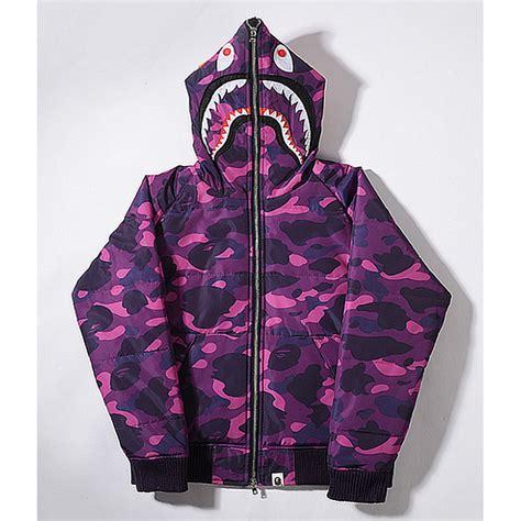 Hoodie Sweater Bape Shark Camo a bathing ape bape wgm camo shark hoodie purple