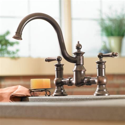 Moen S713WR Waterhill Two Handle High Arc Kitchen Faucet, Wrought Iron   Touch On Kitchen Sink