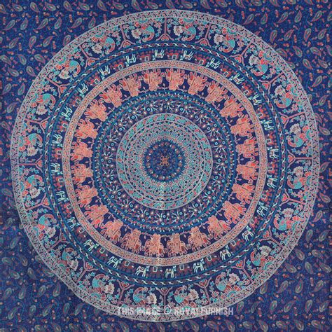 blue pattern tapestry blue indian boho style psychedelic bohemian tapestry