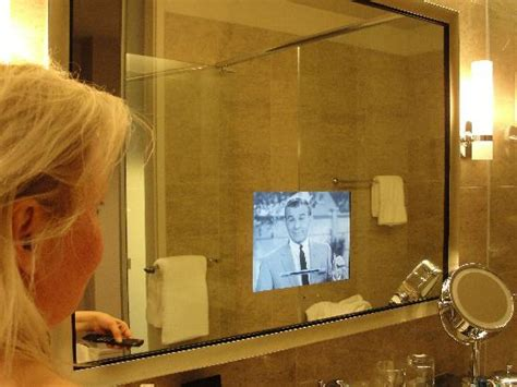 tv in bathroom mirror picture of trump international