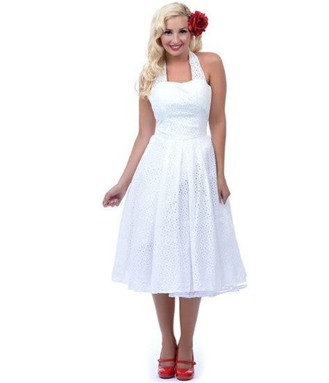dress vintage rockabilly swing dress plain white
