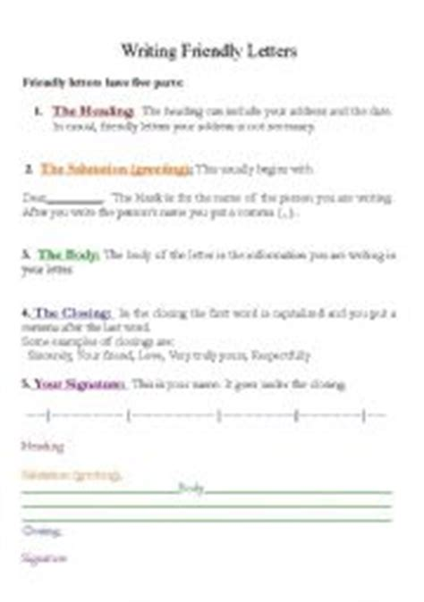 parts of a business letter activity the 5 parts of writing friendly letters