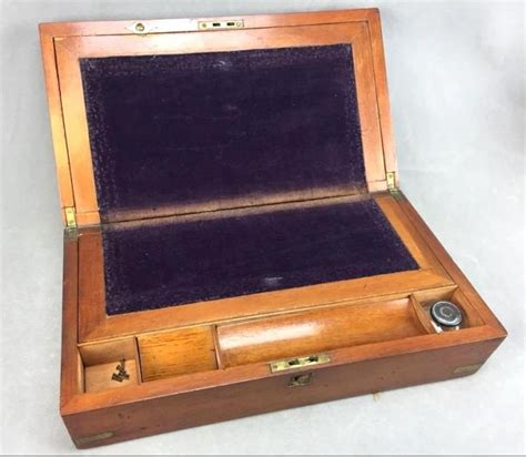 Antique Portable Writing Desk by Antique Portable Wooden Writing Desk W Inkwell Brass Fitt