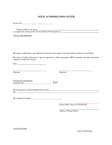 authorization letter format for land authorised signatory