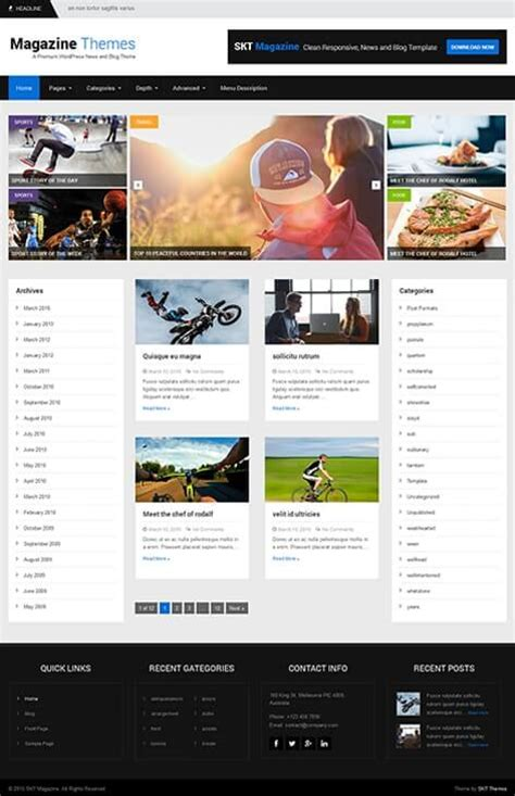 themes wordpress journal free magazine wordpress theme for magazine websites skt