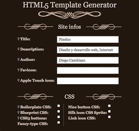 generate html template html5 template generator herramienta para