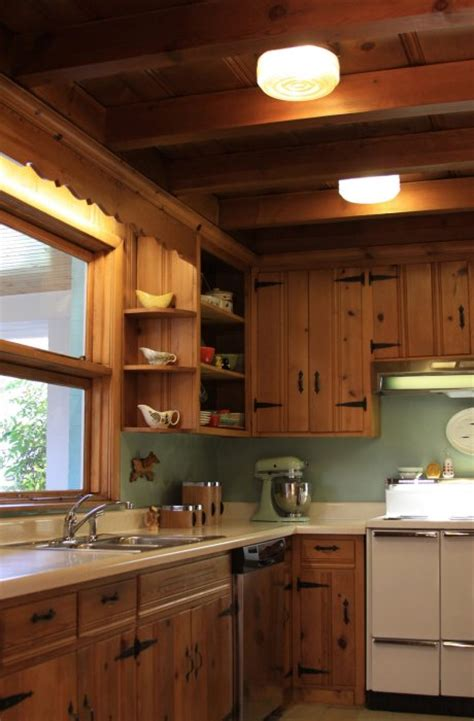 knotty pine kitchen respectfully retained  revived