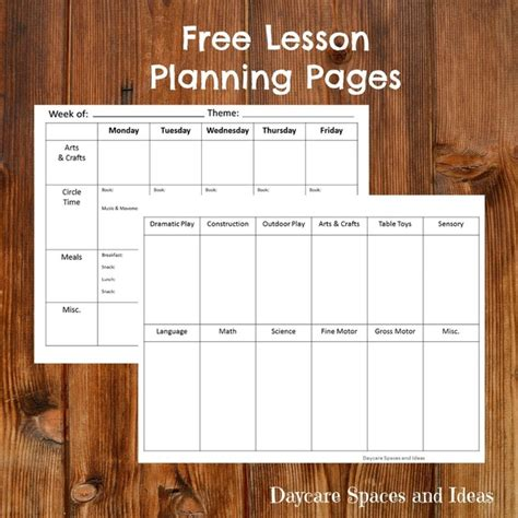 lesson plan template pages daycare spaces and ideas daycare spaces and ideas