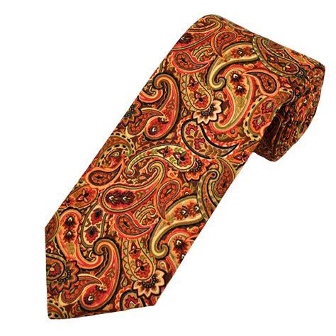 orange patterned ties van buck brown green red orange paisley patterned