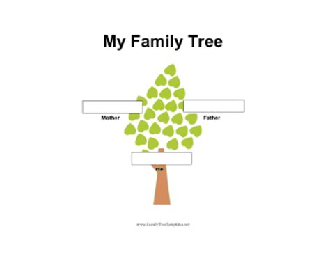 2 Generation Family Tree In Color Template Easy To Use Family Tree Template