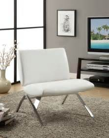 White Leather Living Room Chairs white leather look and chrome metal accent chair modern