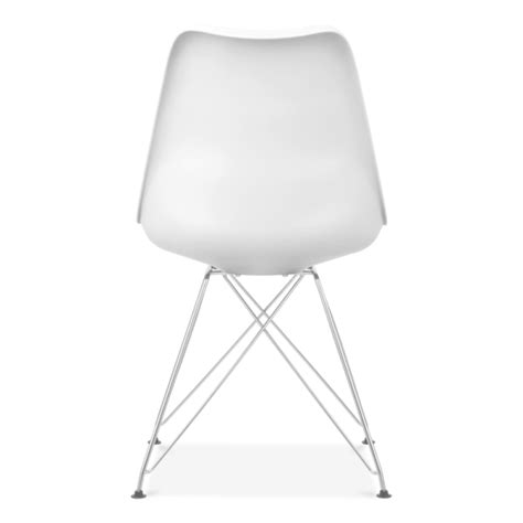 Eames Inspired White Dining Chair With Eiffel Metal Legs Dining Chairs With Metal Legs