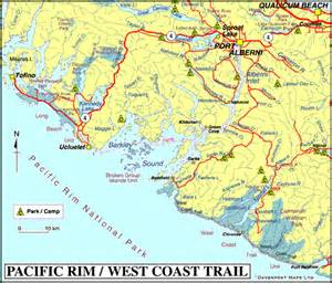 map of canada west coast map of pacific west coast trail barkley sound bc