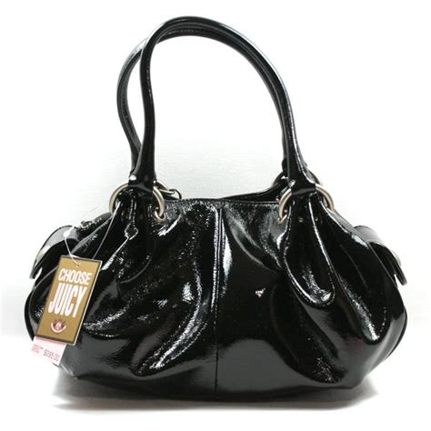 Couture Cherry Print Velour Baby Fluffy Hobo by Couture Black Patent Leather Fluffy Handbag