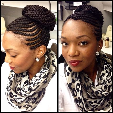 senegalese twists cornrow cornrows in a high bun natural hair