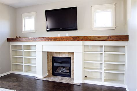 custom fireplace surround bookshelves reclaimed wood