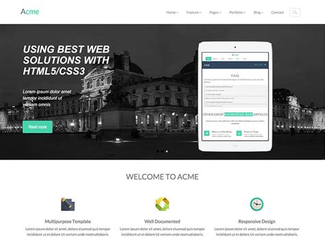 Acme Free Responsive Corporate Bootstrap Template Bootstrap Responsive Website Templates Free