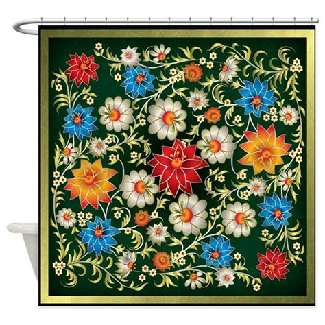 Bold Floral Curtains Shower Curtain Bold Floral On Green With By