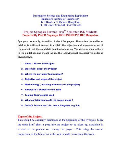 project synopsis template best photos of project synopsis template project summary