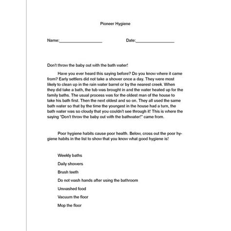 printable lesson plans for grade 3 history lesson plan on pioneer hygiene