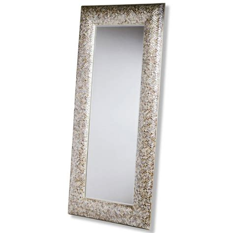 phanta coastal mother of pearl tan rose large leaning modern floor mirror kathy kuo home