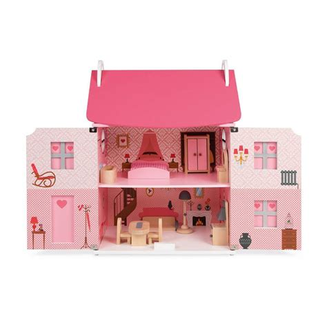 pink wooden dolls house pink wooden dolls house by oskar catie notonthehighstreet com