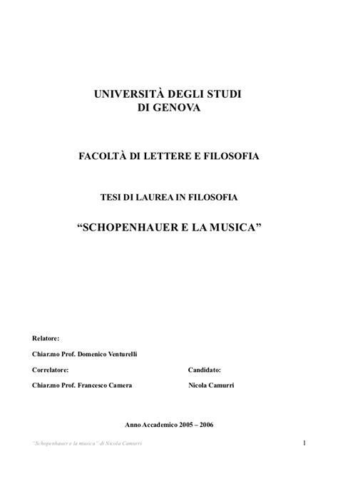 università genova lettere schopenhauer e la musica