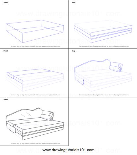 how to draw bedroom step by step how to draw sofa cum bed printable step by step drawing