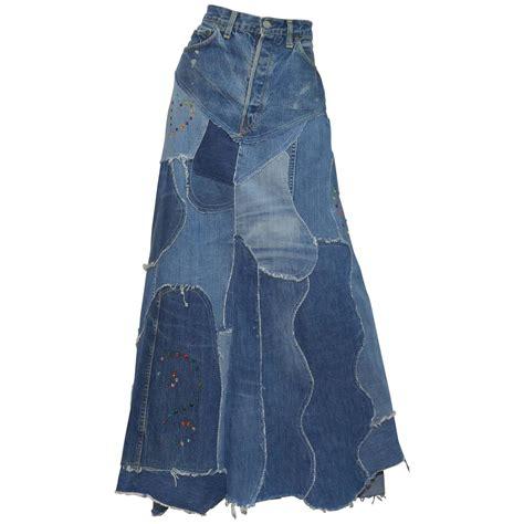 levis denim big e patchworkcustom maxi skirt for sale at
