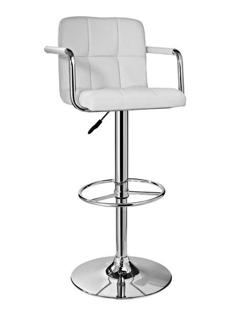 Bar Stools For 300 Pounds by L Powell White And Chrome Quilted Barstool Home